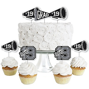 All Star Grad - Dessert Cupcake Toppers - 2019 Graduation Party Clear Treat Picks - Set of 24