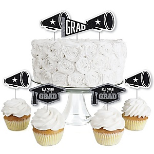 All Star Grad - Dessert Cupcake Toppers - Graduation Party Clear Treat Picks - Set of 24