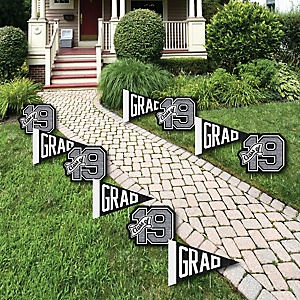 All Star Grad - Pennant Flag & 2019 Lawn Decorations - Outdoor Graduation Party Yard Decorations - 10 Piece