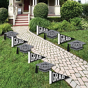 All Star Grad - Pennant Flag & Grad Cap Lawn Decorations - Outdoor Graduation Party Yard Decorations - 10 Piece