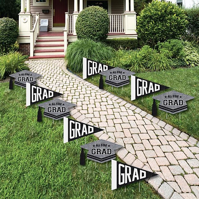 All Star Grad - Pennant Flag & Grad Cap Lawn Decorations - Outdoor Graduation Party Yard Decorations - 10 Piece