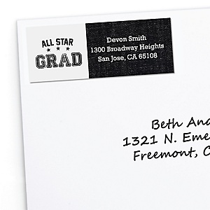 All Star Grad - Personalized Graduation Return Address Labels - 30 ct