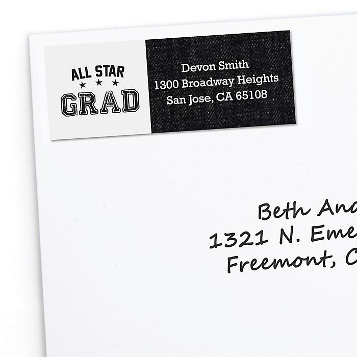 All Star Grad - Personalized Graduation Return Address Labels - 30 ct