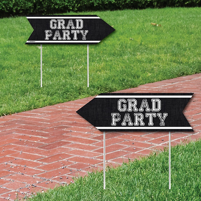 All Star Grad - Graduation Party Sign Arrow - Double Sided Directional Yard Signs - Set of 2