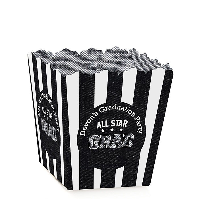 All Star Grad - Party Mini Favor Boxes - Personalized Graduation Treat Candy Boxes - Set of 12