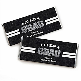 All Star Grad - Personalized Candy Bar Wrappers Graduation Party Favors - Set of 24