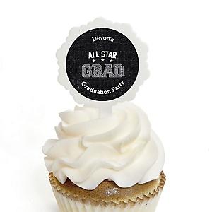 All Star Grad - Personalized Graduation Cupcake Pick and Sticker Kit - 12 ct