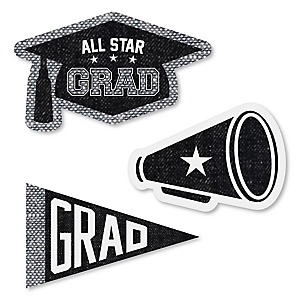 All Star Grad - DIY Shaped Graduation Party Paper Cut-Outs - 24 ct