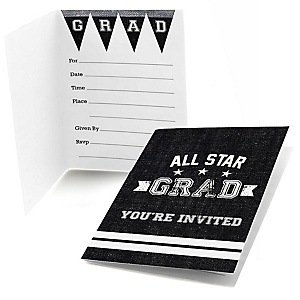 All Star Grad - Graduation Party Fill In Invitations - 8 ct