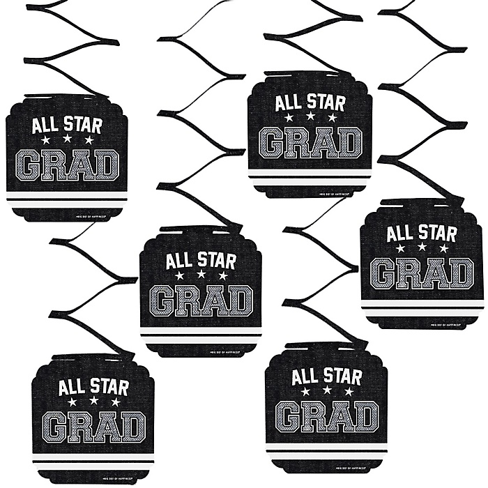 All Star Grad - Graduation Party Hanging Decorations - 6 ct