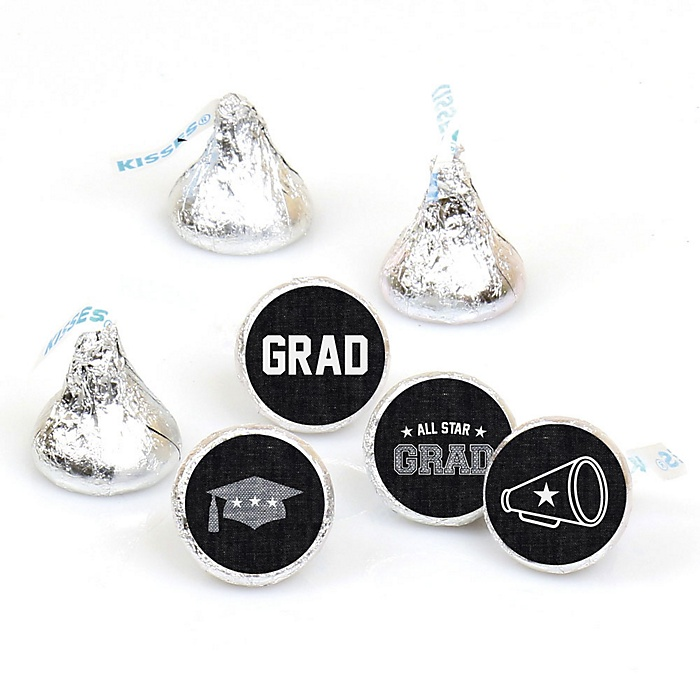 All Star Grad - Round Candy Labels Graduation Party Favors - Fits Hershey's Kisses 108 ct