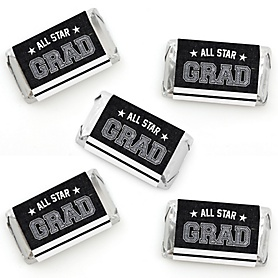 All Star Grad - Mini Candy Bar Wrapper Stickers - Graduation Party Small Favors - 40 Count