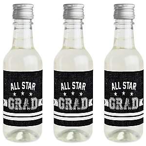 All Star Grad - Mini Wine and Champagne Bottle Label Stickers - Graduation Party Favor Gift - For Women and Men - Set of 16
