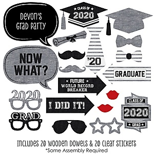 All Star Grad - 20 Piece 2020 Graduation Party Photo Booth Props Kit
