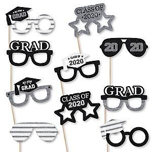 All Star Grad Glasses - 2020 Paper Card Stock Graduation Party Photo Booth Props Kit - 10 Count