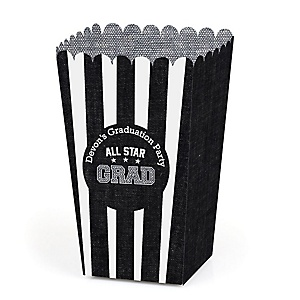 All Star Grad - Personalized Graduation Popcorn Favor Treat Boxes - Set of 12