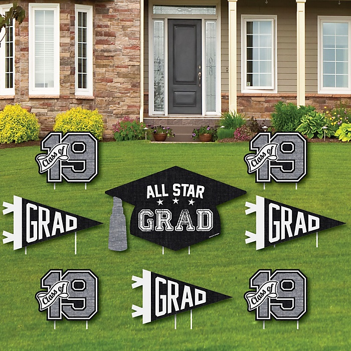 All Star Grad - Yard Sign & Outdoor Lawn Decorations - 2019 Graduation Party Yard Signs - Set of 8