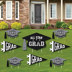All Star Grad - Yard Sign & Outdoor Lawn Decorations - Graduation Party Yard Signs - Set of 8