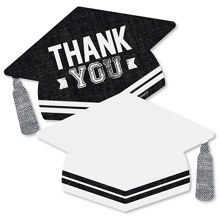 All Star Grad - Shaped Thank You Cards - Graduation Party Thank You Note Cards with Envelopes - Set of 12