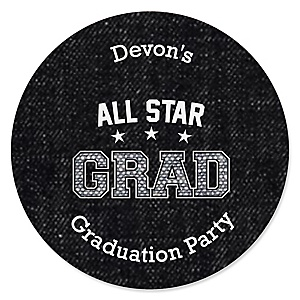 All Star Grad - Personalized Graduation Sticker Labels - 24 ct