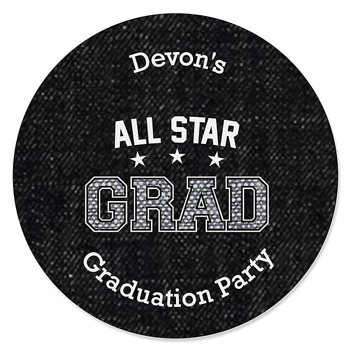 All Star Grad - Personalized Graduation Sticker Labels - 24 ct