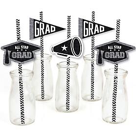 All Star Grad - Paper Straw Decor - Graduation Party Striped Decorative Straws - Set of 24
