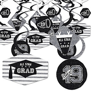 All Star Grad - 2019 Graduation Party Hanging Decor - Party Decoration Swirls - Set of 40