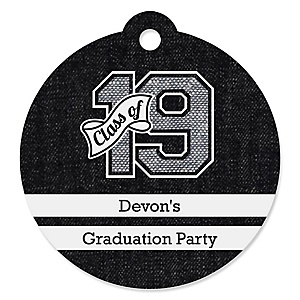All Star Grad - Round Personalized 2019 Graduation Party Die-Cut Tags - 20 ct