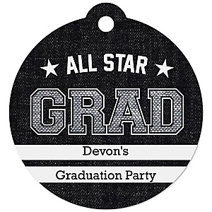 All Star Grad - Round Personalized Graduation Party Die-Cut Tags - 20 ct