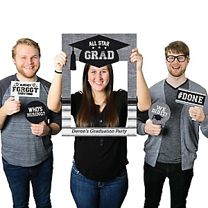 All Star Grad - Personalized Graduation Party Selfie Photo Booth Picture Frame & Props - Printed on Sturdy Material