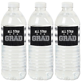 All Star Grad - Graduation Party Water Bottle Sticker Labels - Set of 20