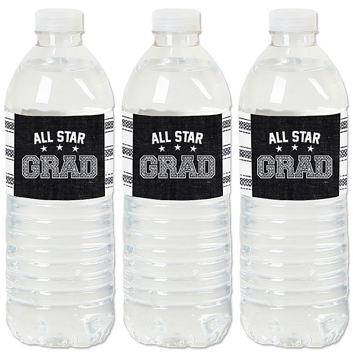All Star Grad - Graduation Party Water Bottle Sticker Labels - Set of 20