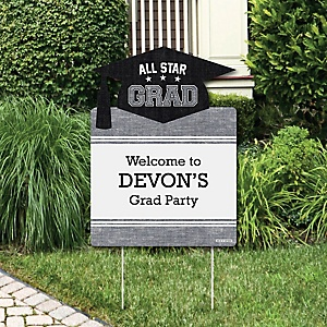 All Star Grad - Party Decorations - Graduation Party Personalized Welcome Yard Sign