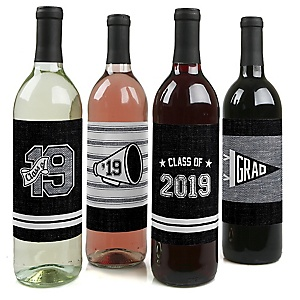 All Star Grad - 2019 Graduation Decorations for Women and Men - Wine Bottle Label Stickers - Set of 4