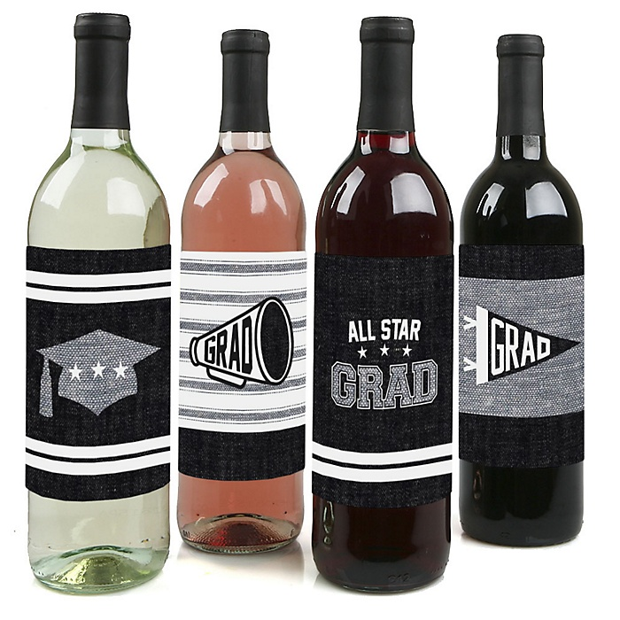 All Star Grad - Graduation Decorations for Women and Men - Wine Bottle Label Stickers - Set of 4