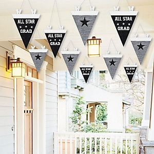 Hanging All Star Grad - Outdoor Graduation Party Hanging Porch & Tree Yard Decorations - 10 Pieces