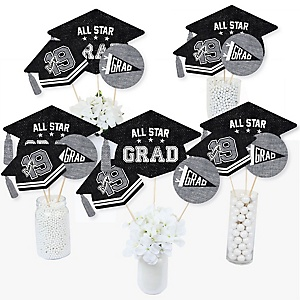 All Star Grad - 2019 Graduation Party Centerpiece Sticks - Table Toppers - Set of 15