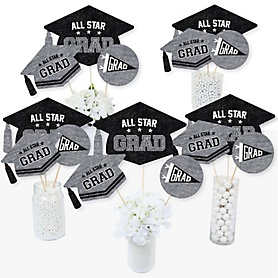 All Star Grad - Graduation Party Centerpiece Sticks - Table Toppers - Set of 15