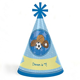 All Star Sports - Personalized Cone Happy Birthday Party Hats for Kids and Adults - Set of 8 (Standard Size)