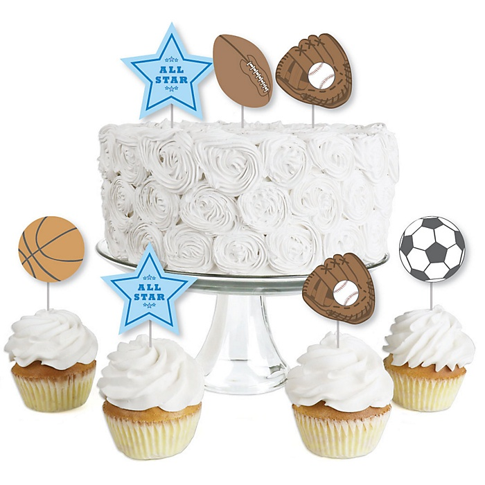 All Star Sports - Dessert Cupcake Toppers - Baby Shower or Birthday Party Clear Treat Picks - Set of 24