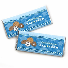 All Star Sports -  Candy Bar Wrapper Baby Shower or Birthday Party Favors - Set of 24