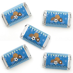 All Star Sports - Mini Candy Bar Wrapper Stickers - Baby Shower or Birthday Party Small Favors - 40 Count