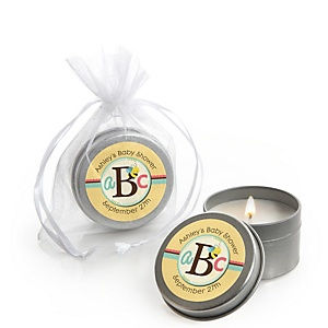 A is for Alphabet - Candle Tin Personalized Baby Shower Favors