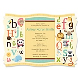A is for Alphabet - Personalized Baby Shower Invitations