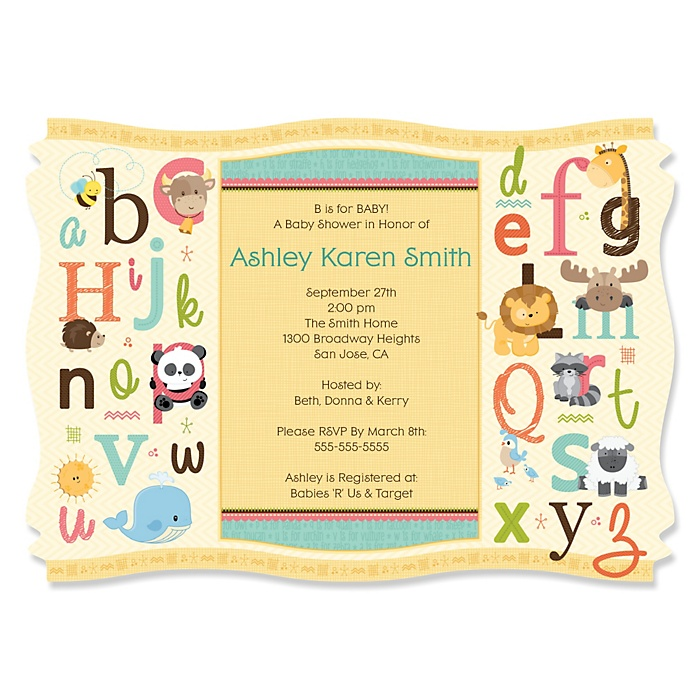 A is for Alphabet - Personalized Baby Shower Invitations - Set of 12