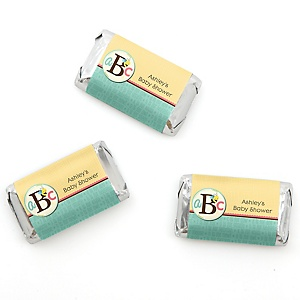 A is for Alphabet - Personalized Baby Shower Mini Candy Bar Wrapper Favors - 20 ct