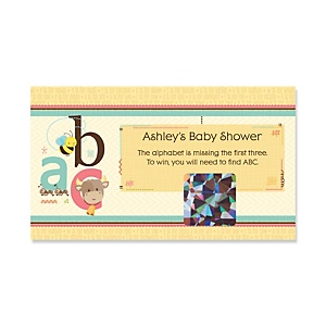 A is for Alphabet - Personalized Baby Shower Game Scratch Off Cards - 22 ct