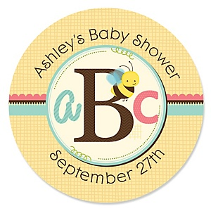 A is for Alphabet - Personalized Baby Shower Sticker Labels - 24 ct