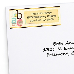 A is for Alphabet - Personalized Birthday Party Return Address Labels - 30 ct