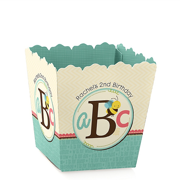 A is for Alphabet - Party Mini Favor Boxes - Personalized Birthday Party Treat Candy Boxes - Set of 12